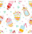 delicious milkshakes seamless pattern healthy ice vector image vector image