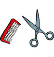 doodle comb and scissors vector image vector image