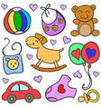 Doodle of baby set style colorful vector image