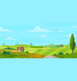 farm on nature rural background green field vector image
