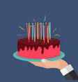 flat hand with cake and candles design element vector image vector image
