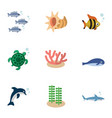 flat icon sea set of seafood algae cachalot and vector image vector image
