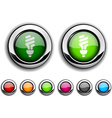 Fluorescent bulb button vector image vector image