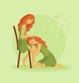 girl lies on her friends lap vector image vector image