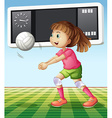 Girl playing volleyball in the field vector image vector image