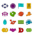 global connections icons doodle set vector image vector image