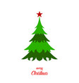 green christmas tree with star and text merry vector image