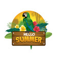 green parrot bird sits on wood plank sign vector image vector image