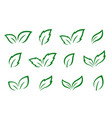 hand drawn set of green leaves icons vector image vector image