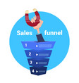 hand hold magnet sales funnel pulling purchase vector image