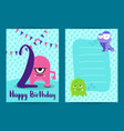 Happy birthday cards with cute monsters