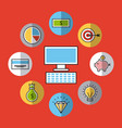 icons set analytic and investments vector image vector image