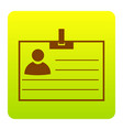 id card sign brown icon at green-yellow vector image vector image
