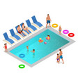 isometric family enjoying summer vacation in vector image vector image