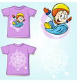 kid shirt with winter sportsmen on sled printed vector image vector image