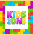 kids zone playground logo poster cartoon vector image vector image
