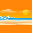 landscape background design with ocean and sunset vector image vector image