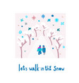 lets walk snowflake tongue winter christmas season vector image vector image