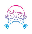 line girl head with glasses and hairstyle design vector image vector image