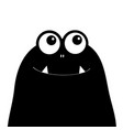 monster head silhouette two eyes teeth fang black vector image vector image