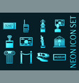 museum set icons blue glowing neon style vector image