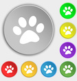 paw icon sign Symbol on eight flat buttons vector image