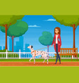 people with pets cartoon background vector image vector image