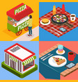 pizzeria isometric design concept vector image vector image