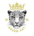 queen cat crown and face a leopard t-shirt vector image