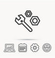 repair icon spanner tool with screw-nut sign vector image vector image