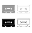 retro audio cassette icon outline set grey black vector image