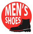 round sign shop mens shoes vector image vector image