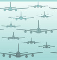 seamless pattern flying passenger airplanes from vector image