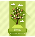 Seasonal with spring tree in flat vector image vector image