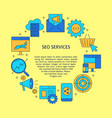 seo services round poster in line style with place vector image vector image