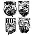 set fishing emblem designs vector image