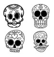 set hand drawn mexican sugar skull isolated on vector image vector image