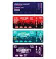 set of concert ticket templates concert party or vector image vector image