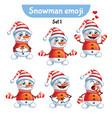 set of cute snowman characters set 1 vector image vector image