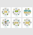 six vr banners - virtual reality vector image vector image