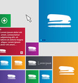 Stapler and pen icon sign buttons Modern interface vector image