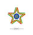 star with flag of Ethiopia colors and symbols vector image vector image