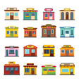 store facade front shop icons set flat style vector image vector image