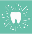 tooth icon round line circle shining effect stars vector image