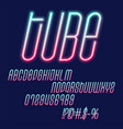 tube neon font glowing green and pink capital vector image vector image