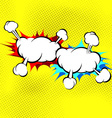Two explosion cloud collision retro background vector image vector image