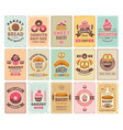 vintage bakery cards delicious pastries cafe shop vector image vector image