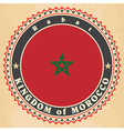 Vintage label cards of Morocco flag vector image