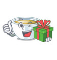 with gift ginger tea in the cartoon shape vector image vector image