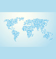 world map made of small blue circles vector image vector image